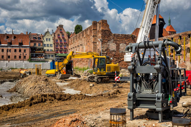 Rebuilding of townhouses in old town in Gdansk, Poland stock photo
