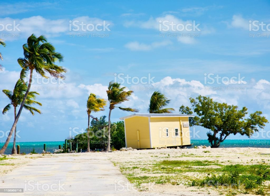 Rebuilding Sights from along the coastline of Plantation Key, Islamorada, Florida less than two years after Hurricane Irma. Beach Stock Photo