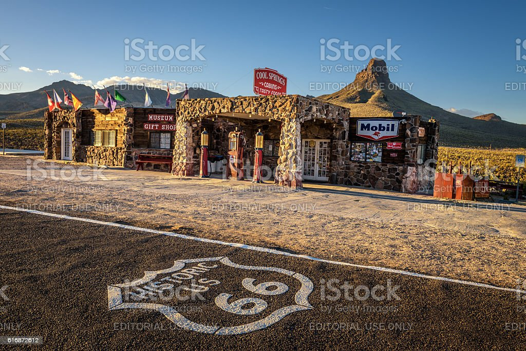 Rebuilt Cool Springs station on historic route 66 stock photo