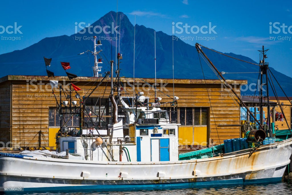 Rebun Island Fishing Boat stock photo
