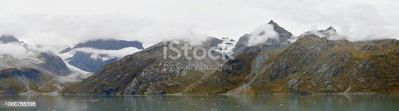 A travel scene of a receding glacier and moraine in  Glacier Bay National Park.This glacier, like all but one of the hundreds here, is receding due to global climate change