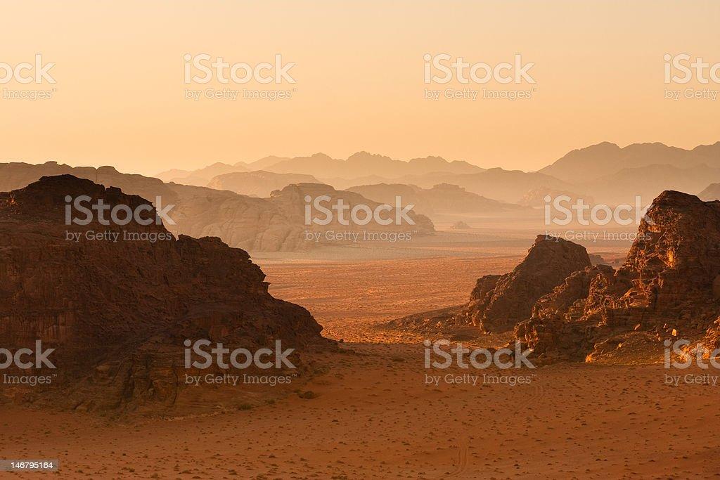 Receding mountains in sunset, Wadi Rum, Jordan. royalty-free stock photo