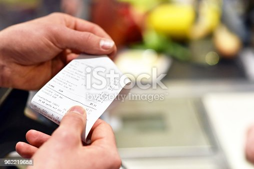 receipt after payment in the supermarket