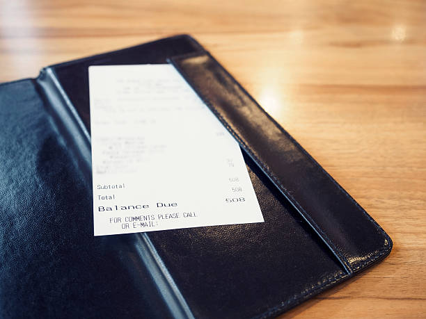 receipt bill in folder shopping payment retail business - receipt stock photos and pictures
