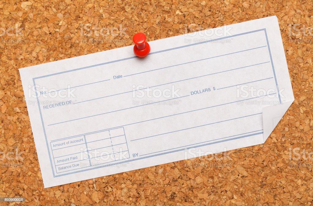 Receipt Cork Board stock photo