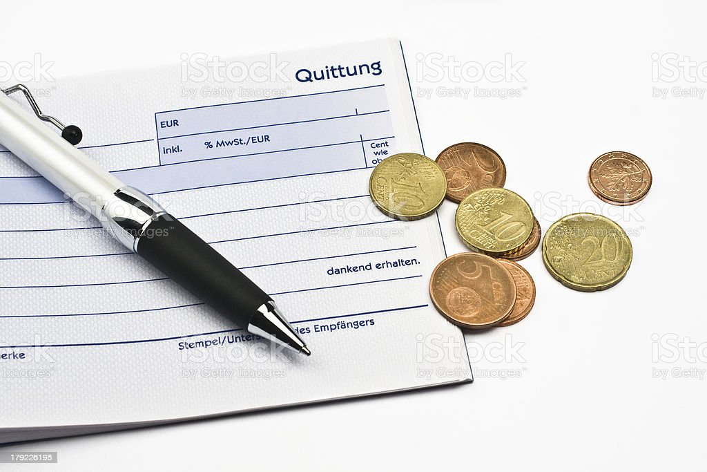 receipt with euro coins and ball-pen royalty-free stock photo