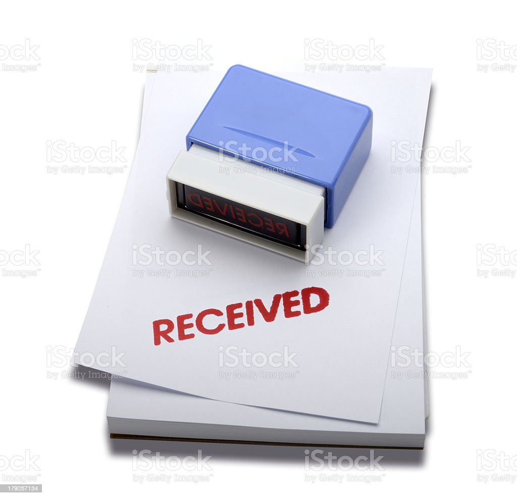 Received date rubber stamp (Clipping path) royalty-free stock photo