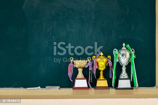 istock Received many trophies put on a blackboard 917618410