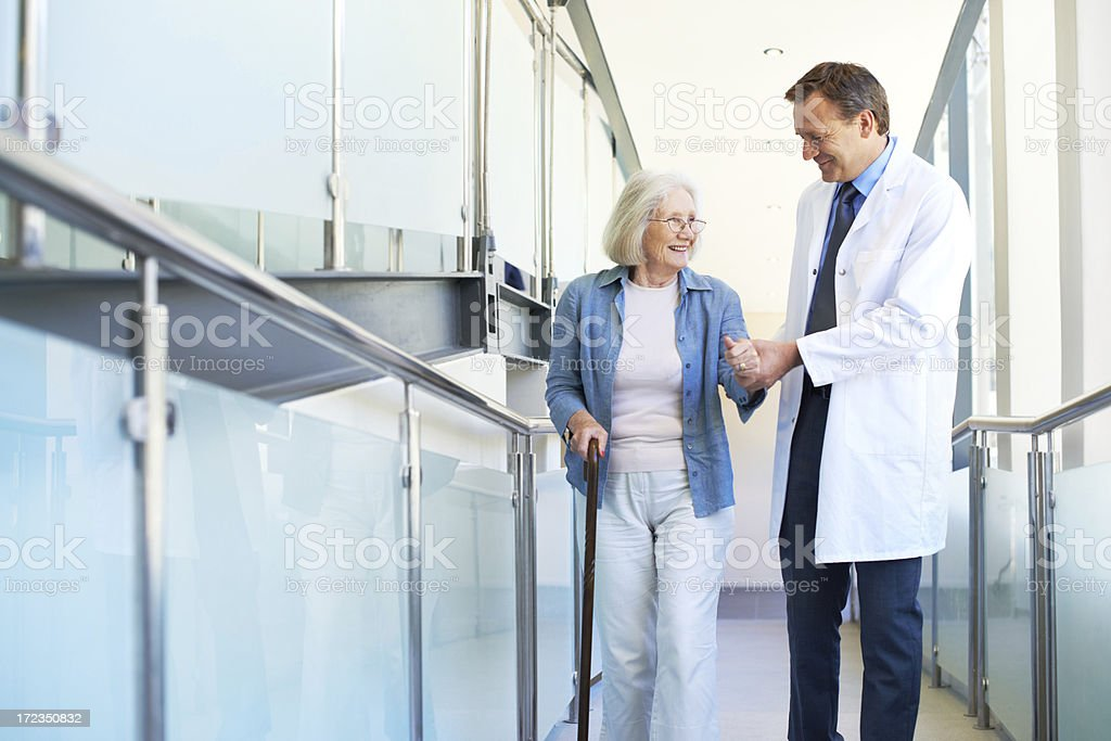 Receiving caring and excellent healthcare royalty-free stock photo