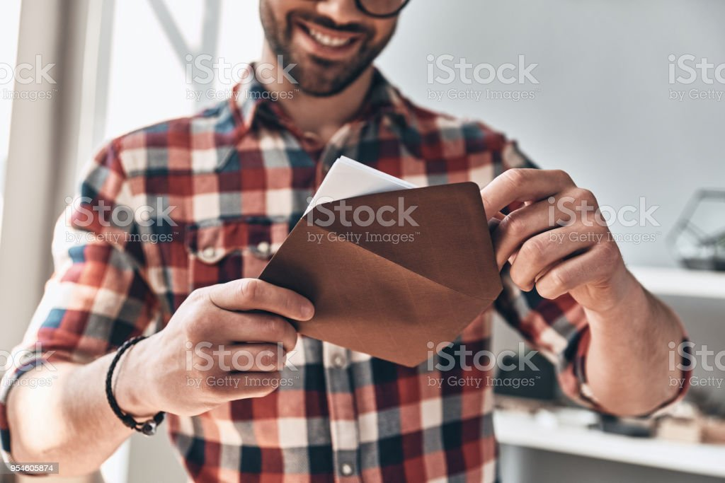 Receiving greeting card. stock photo