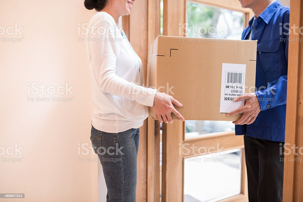 Receiving large parcel stock photo
