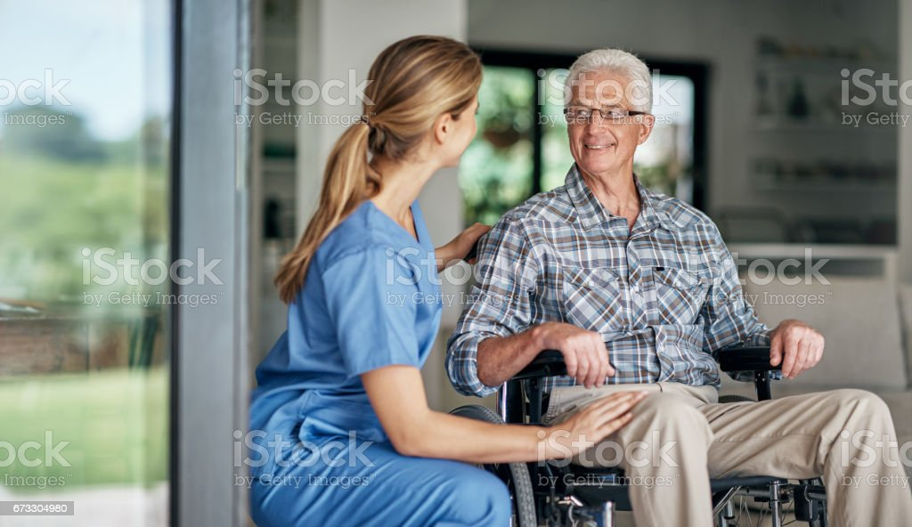 Receiving professional, compassionate, and personalized care stock photo