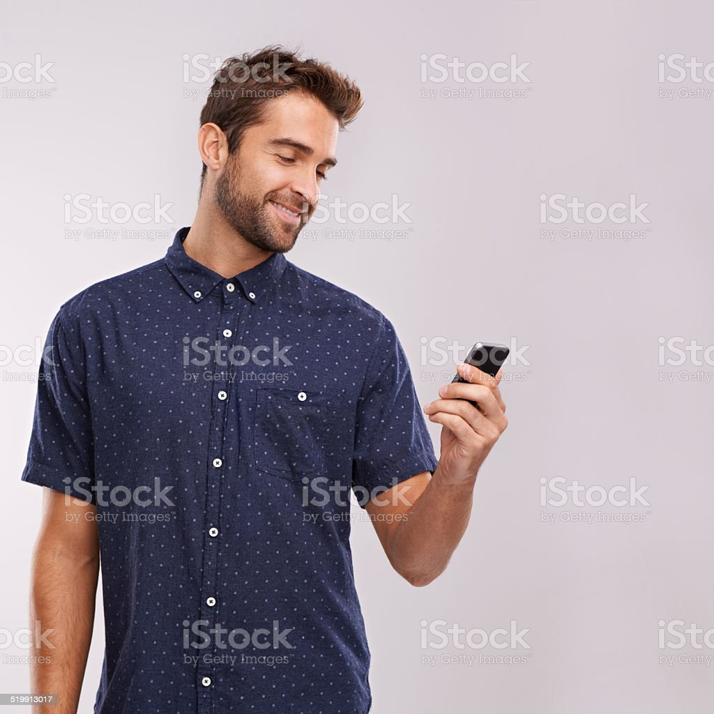 Receiving some good news stock photo