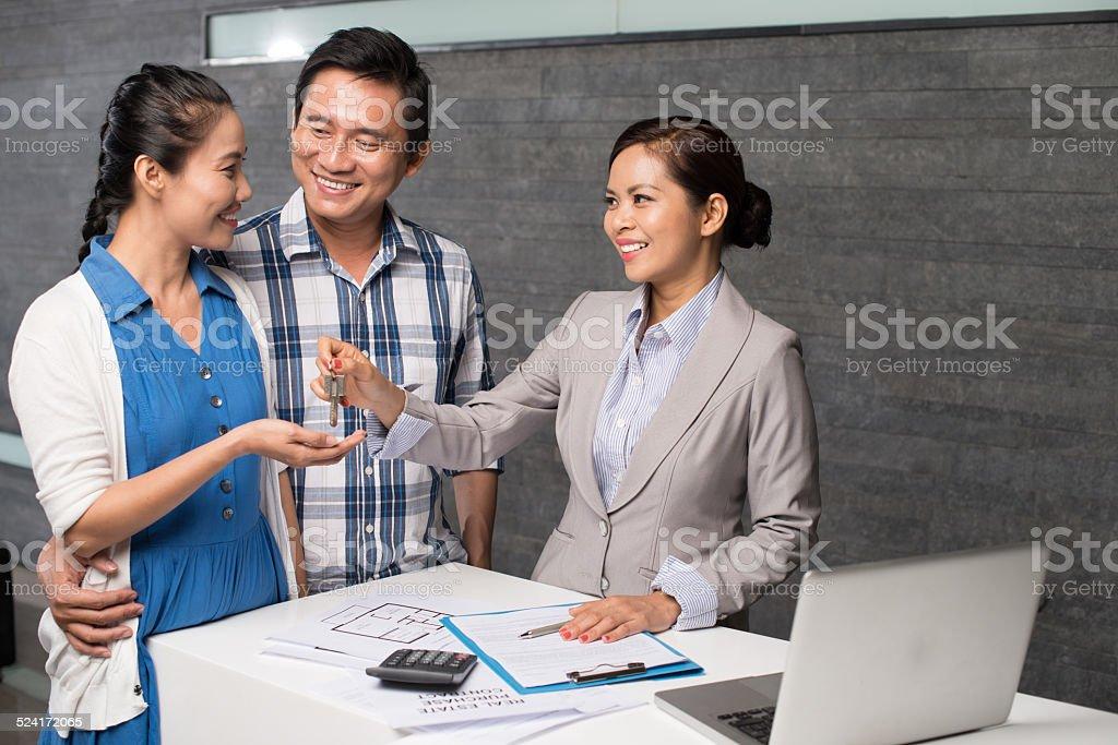 Receiving the keys stock photo