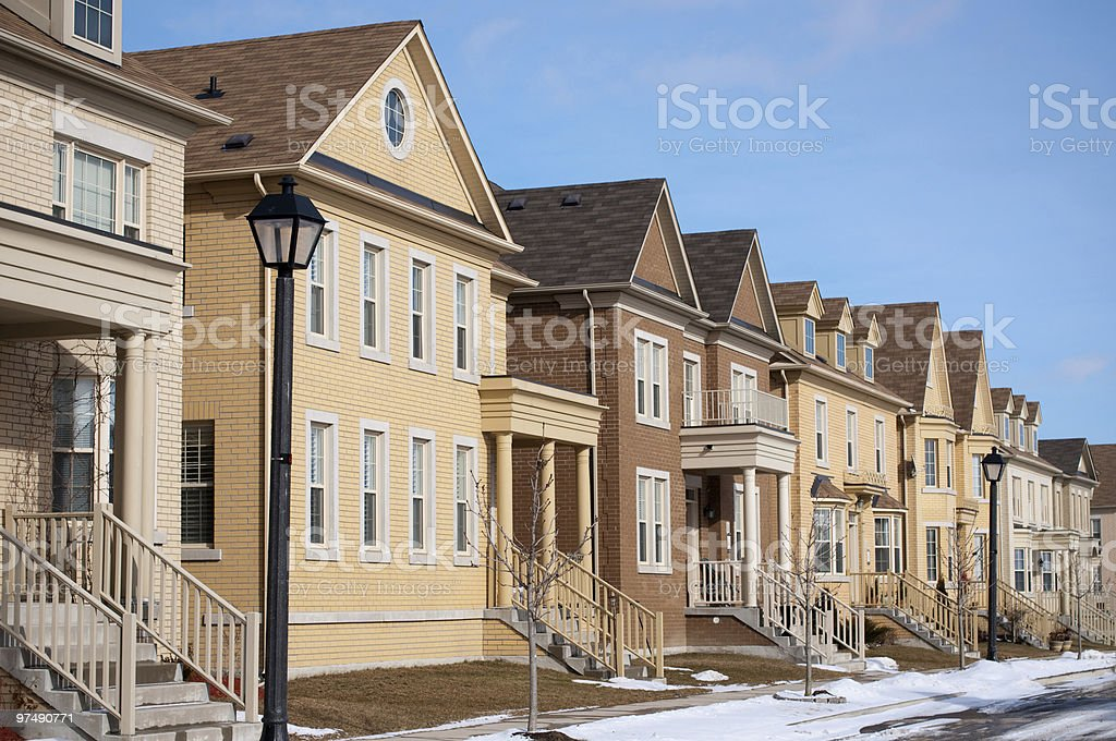Recently Built Homes on a Suburban Street royalty-free stock photo