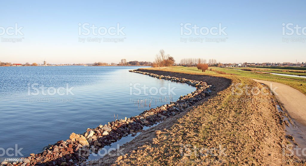 Recently reenforced dike stock photo