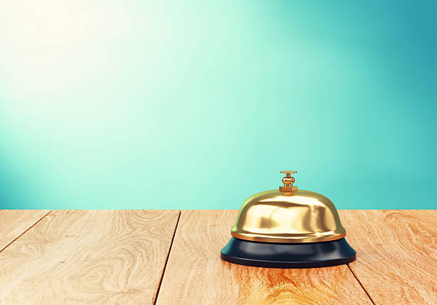 recepion bell on desk - bell stock pictures, royalty-free photos & images