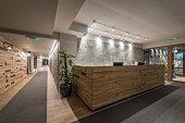 Reception and corridor in luxury designed hotel