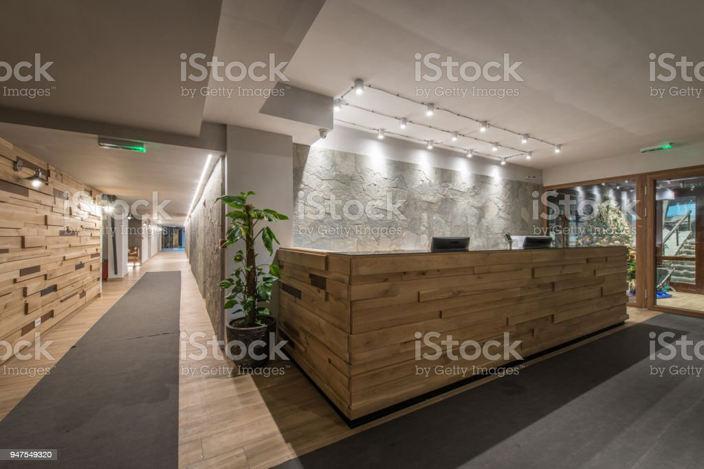 Reception and corridor in luxury designed hotel stock photo