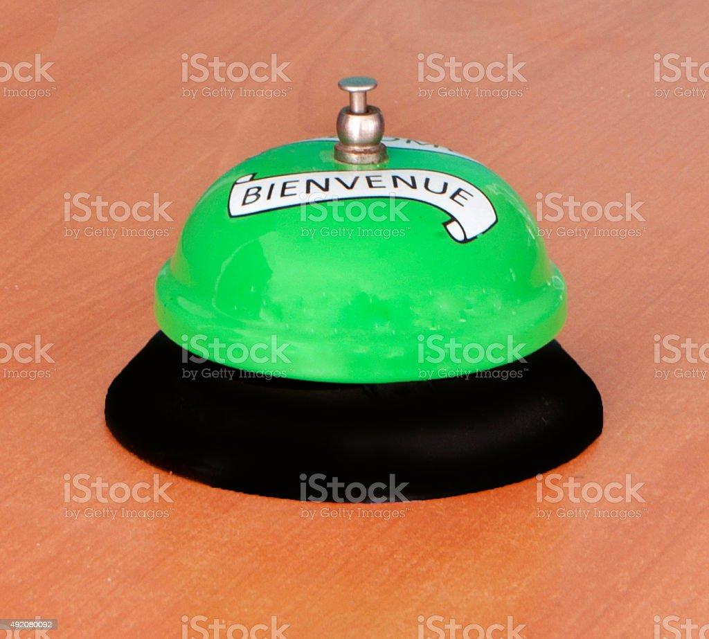 Reception Bell Bienvenue stock photo