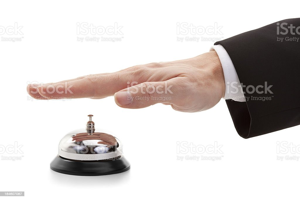 reception bell with hand isolated on white royalty-free stock photo