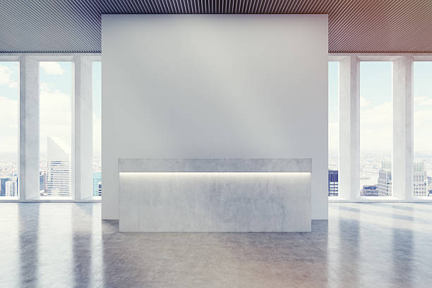 Reception counter, corridor, wide shades, toned stock photo