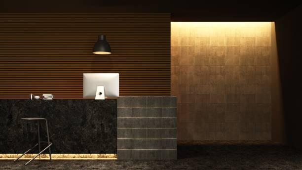 reception counter interior 3d rendering in hotel - loft style - hotel reception zdjęcia i obrazy z banku zdjęć