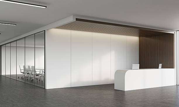reception desk and meeting room in corridor - hall photos et images de collection
