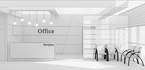reception desk grid 3d rendering - hotel reception zdjęcia i obrazy z banku zdjęć
