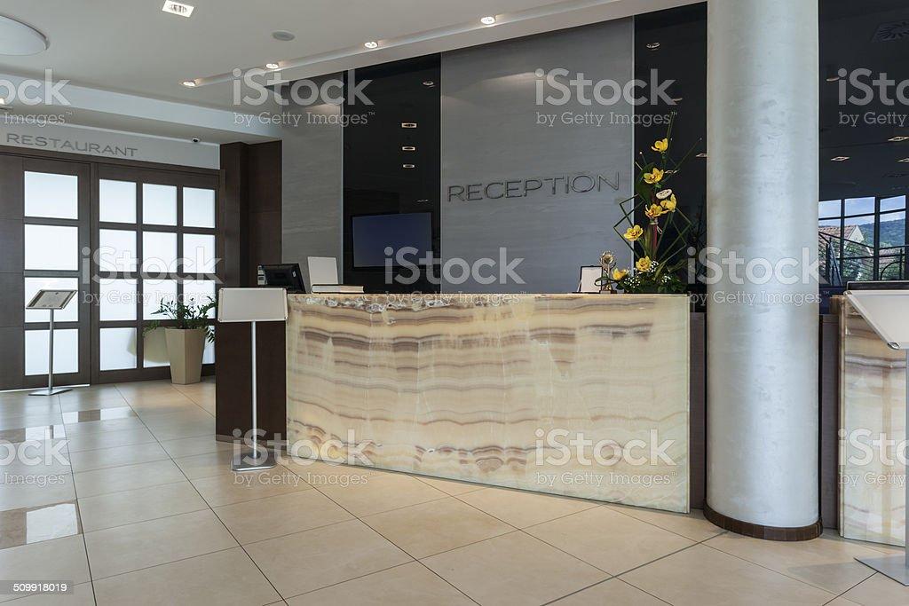 Reception desk in hotel stock photo