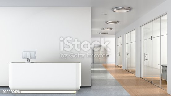 Reception desk in interior of empty business office lobby. 3d illustration