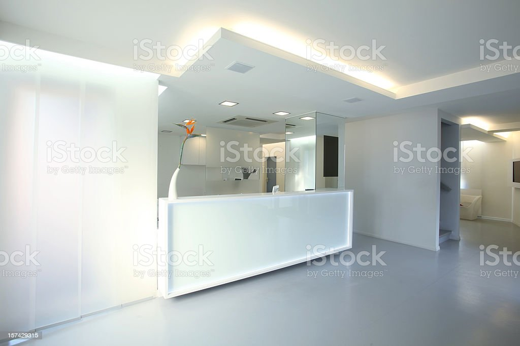 Reception desk stock photo