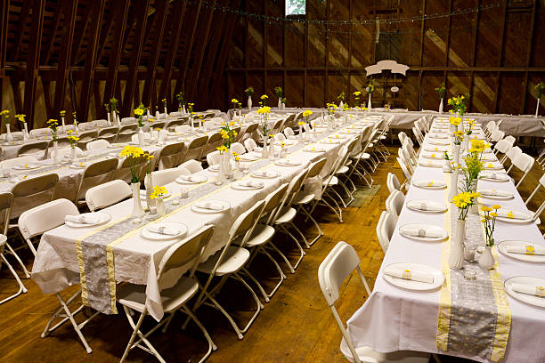 Reception Dinner Tables stock photo