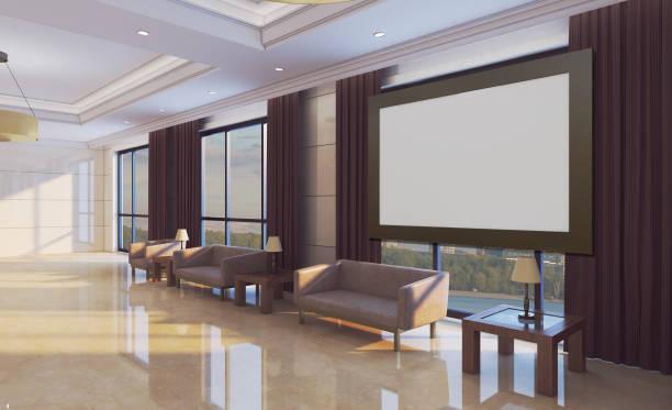Interior da recepção com os grandes sofás de couro. Lobby. Fundo do negócio. Pinturas em branco.  Maquete.. rendição 3D - foto de acervo