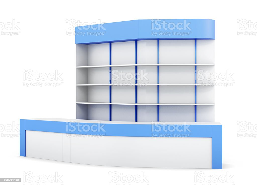 Reception isolated on white background. With multiple shelves.3d royalty-free stock photo