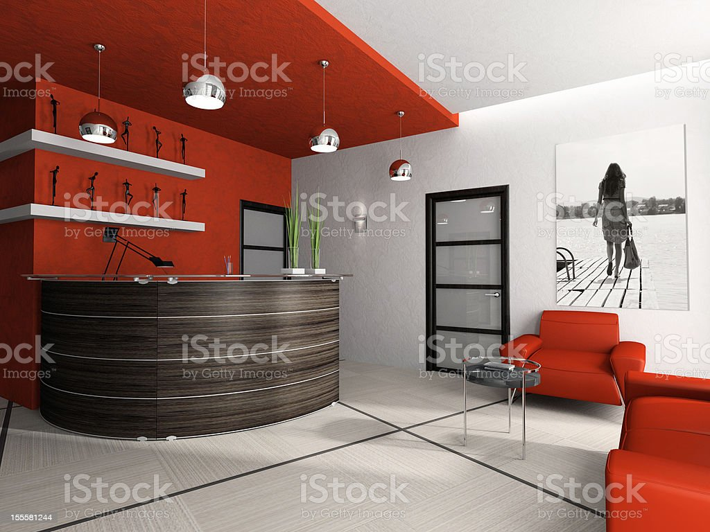 Reception room in office 3D rendering royalty-free stock photo