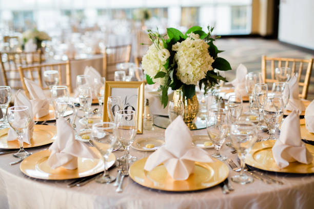 Reception table setting Reception table set up for the event. wedding stock pictures, royalty-free photos & images
