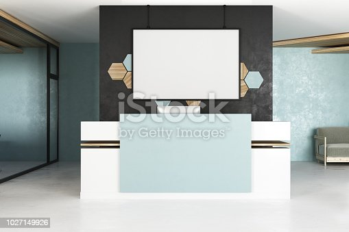 istock Reception with empty white poster 1027149926