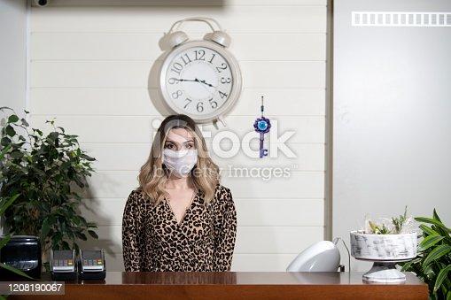 Eskişehir Turkey. Receptionist woman in hotel/ luxury restaurant