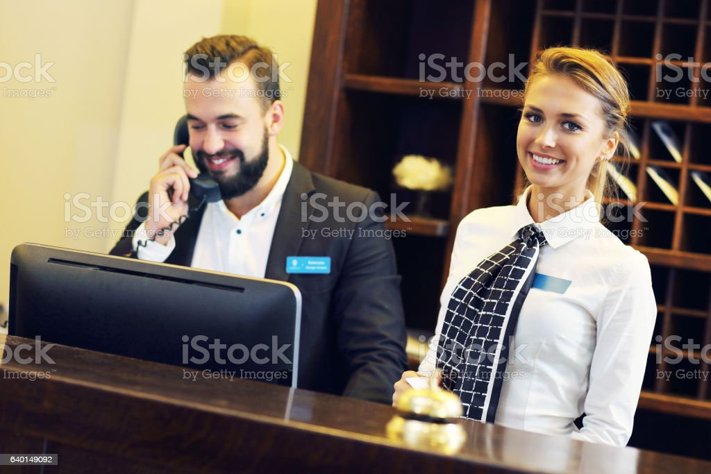 Receptionists at work stock photo