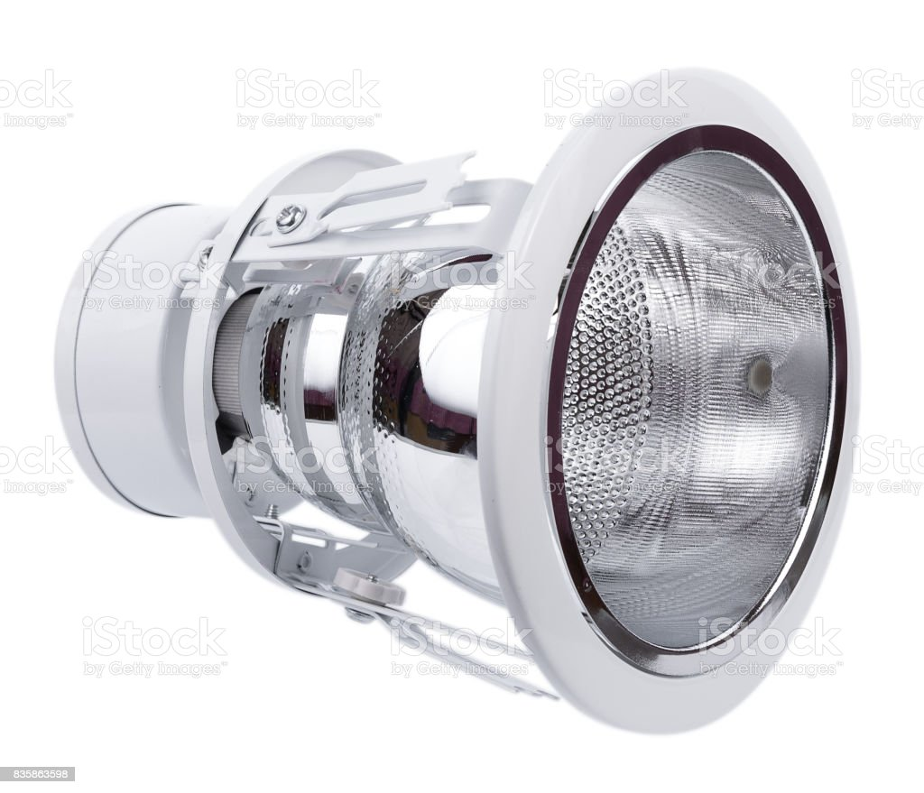 Recessed ceiling LED lamp on white b stock photo