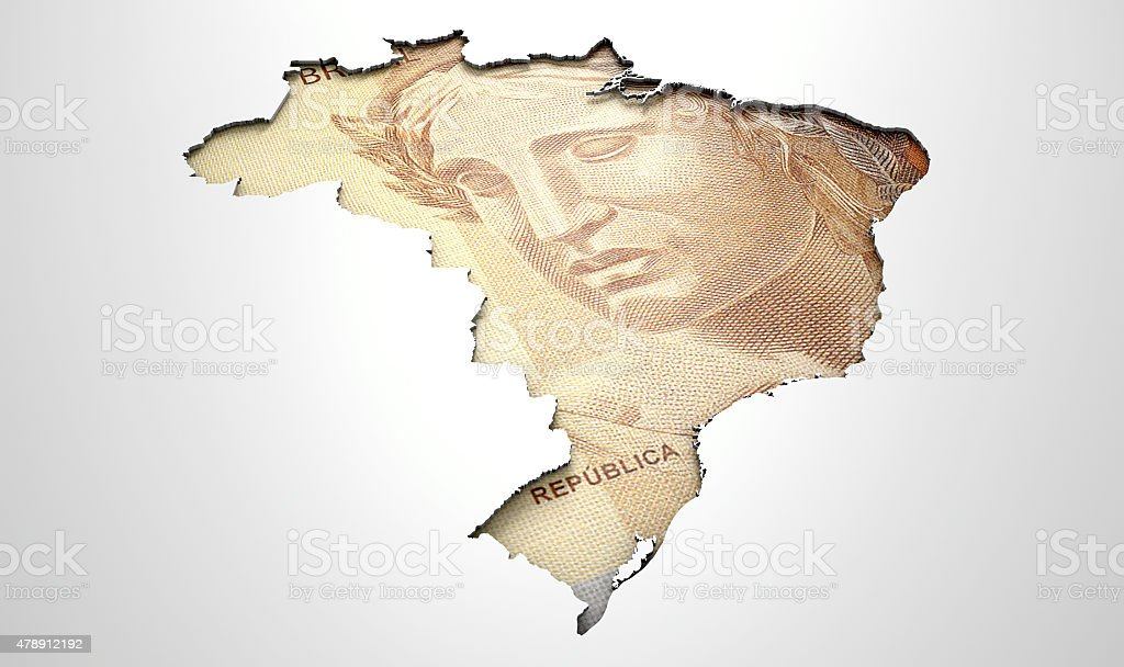 Recessed Country Map Brazil stock photo