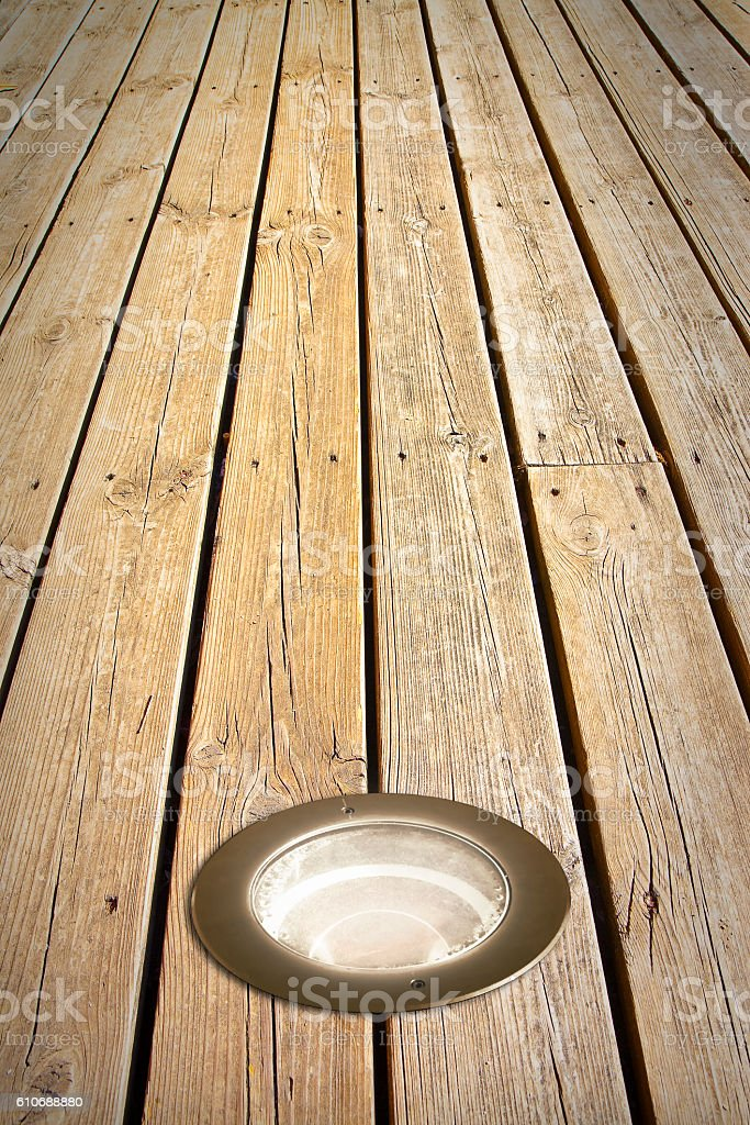 Recessed Floor Lamp On Old Wooden Floor Stock Photo Download Image Now Istock