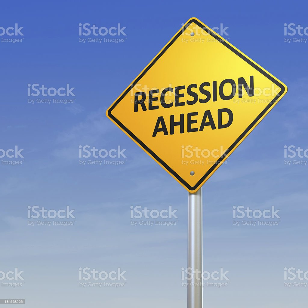 Recession Ahead Warning Sign stock photo
