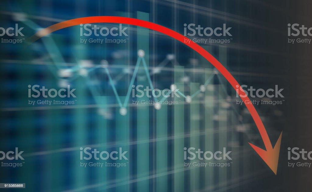 Flèche de la récession sur Ecran led - Photo
