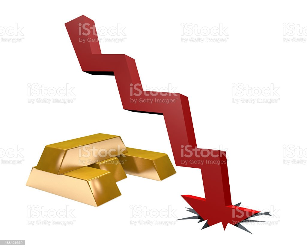 Recession Chart with Gold Bullion stock photo