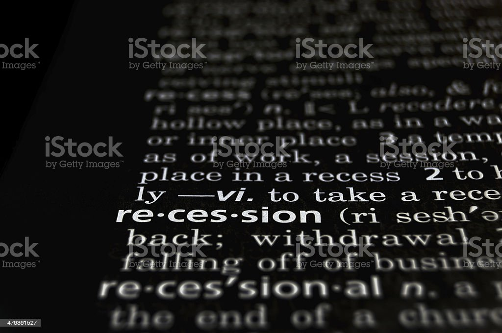 Recession Defined on Black royalty-free stock photo