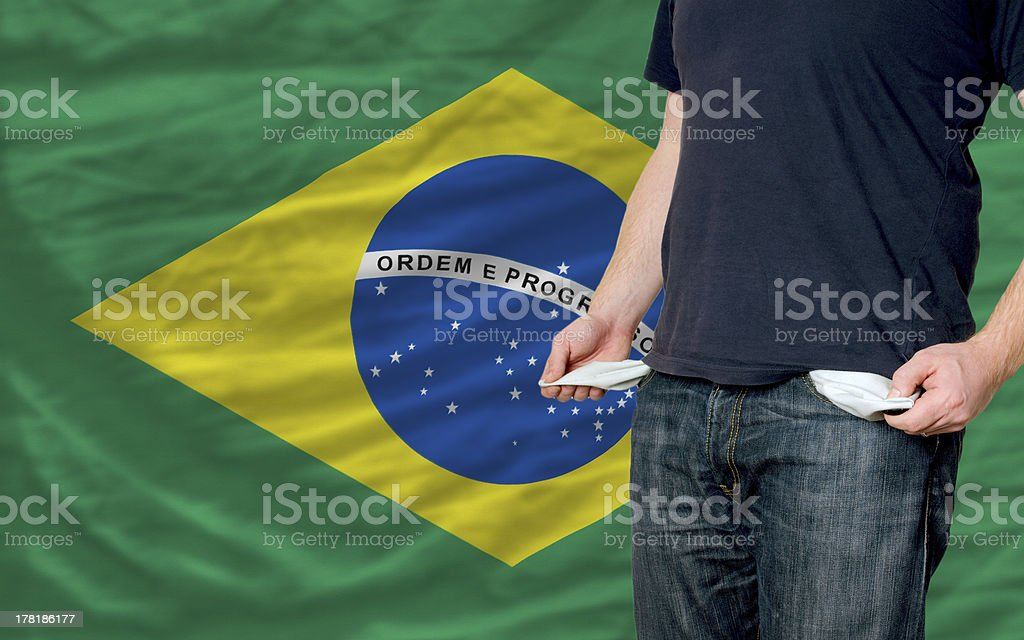 recession impact on young man and society in brazil stock photo