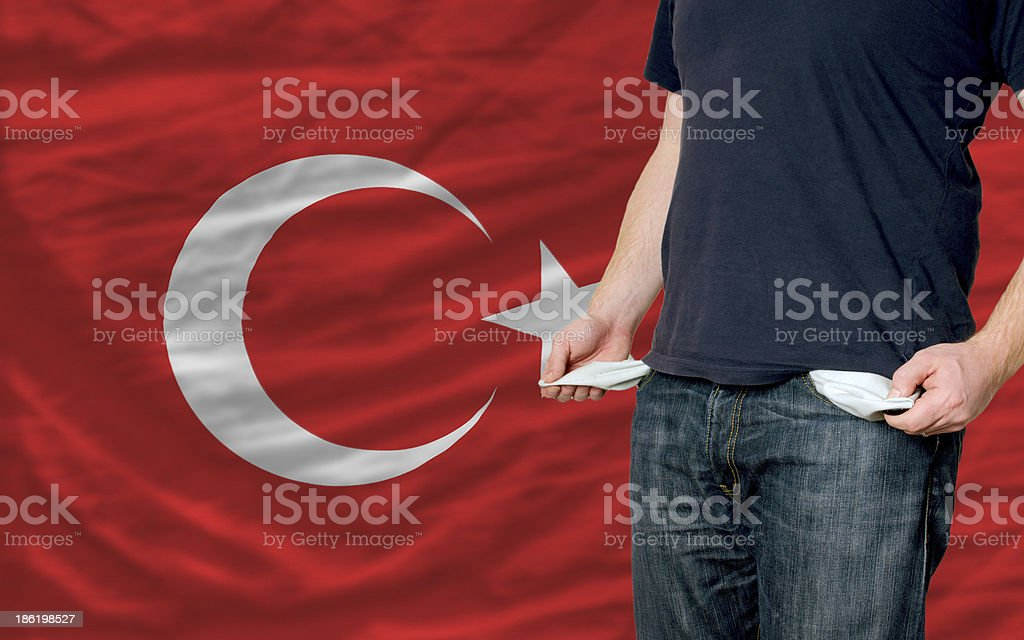 poor man showing empty pockets in front of turkey flag