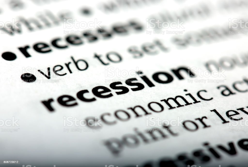Recession is a word printed and defined in the English dictionary stock photo